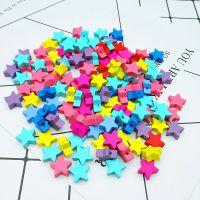100颗一包 DIY儿童手工益智串珠 彩色卡通五角星木珠 饰品配件