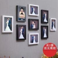 墙九宫格婚纱影楼照片墙9个7寸挂墙相框创意韩式照片墙仿实木相框