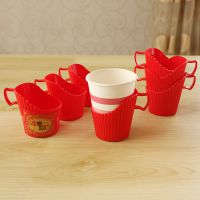 简约一次性杯托塑料杯杯架创意纸杯杯托盘家用隔热带手柄茶杯架