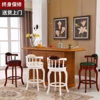 实木吧台椅家用美式高脚酒吧椅旋转靠背吧凳餐厅欧式真皮吧台椅子