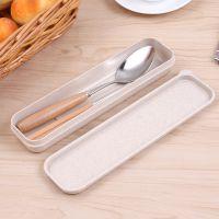 名瑞不锈钢筷子木柄勺子、便携餐具小麦盒装、学生餐具可印logo