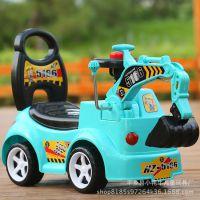 直销新款儿童四轮挖掘机工程滑行车 溜溜车 可一件代发