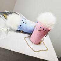 毛毛包个性冰激凌毛绒小包包女包韩版卡通链条水桶迷你斜跨手机包