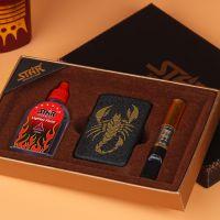 烟具礼盒三件套 煤油打火机 煤油 过滤烟嘴 十元店货源厂家批发