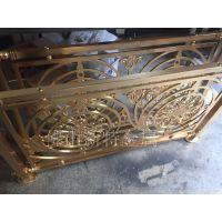 浑源铝雕花楼梯 古铜拉丝铝艺扶手栏杆各种设计
