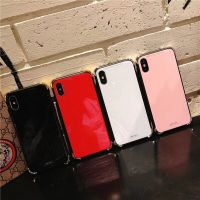 ins简约 iphone7纯色 玻璃手机壳 苹果x保护套防摔创意机壳全包i8