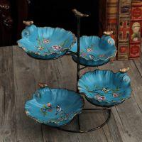 美式饰品创意多层果盘客厅水果盘架子糖果盘家用拼盘欧式收纳复古