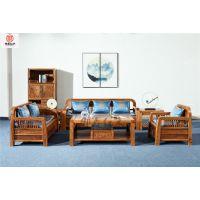 刺猬紫檀新中式沙发6件套组合-红木沙发-红木家具价格图片