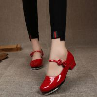 踢踏舞鞋女式 儿童成人软底真皮亮革踢踏舞蹈鞋直板底初学踢踏鞋