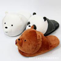 咱们裸熊熊猫棕熊白熊北极熊毛绒拖鞋棉鞋外贸热款居家鞋月子鞋