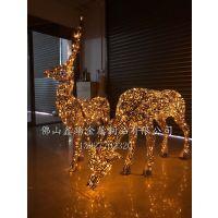 景观不锈钢发光梅花鹿雕塑创意件 艺术不锈钢镂空鹿实物制作流程前奏