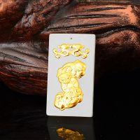 F新款方牌貔貅对咬铜币双貔貅天然和田玉3D镶金镶玉工厂批发定制
