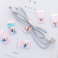 个性束线带纽扣整理集线扣 PVC透明镭射绕线器数据线耳机线理线器