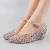 夏季水晶果冻网状沙滩鸟巢镂空甜美洞洞高跟坡跟妈妈鞋塑料女凉鞋