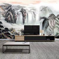定制新中式壁纸沙发电视背景墙壁画大型客厅墙布无缝山水国画墙纸
