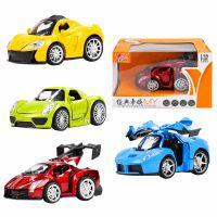 厂家直销儿童合金车模型玩具可开门红外线感应灯光音乐回力车批发