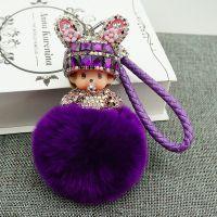 镶钻新款兔耳朵蒙奇奇钥匙扣 创意卡通可爱毛绒毛球包包挂件饰品