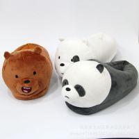棕色白色情侣熊猫棕熊白熊毛绒拖鞋棉鞋外贸热款居家鞋月子鞋