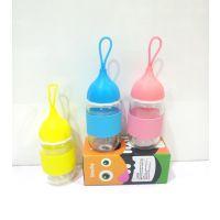2元礼品 漂流瓶 玻璃广告杯 布套杯 纯色 可印LOGO 促销活动礼品