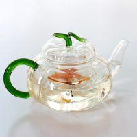 厂家批发耐热玻璃茶壶透明高档礼品功夫茶具订制绿叶南瓜玻璃壶