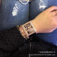 新款手表潮流镶钻大表盘石英表 满钻女表时尚时装表牛皮带