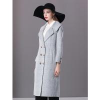楚贝尔2018秋冬双面呢格子羊毛大衣女中长款修身英伦风毛呢外套