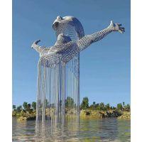 自贡不锈钢人物雕塑 网格编织抽象人物雕塑 水景景观制作