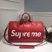 新款LV.L wr supreme联名红色水波纹KEEPALL 45旅行包 男士旅行包