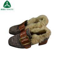 2018新款毛毛鞋外穿韩版方扣方头浅口粗跟女式时装单鞋便宜低价卖
