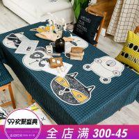 一件代发ofat美式原创手绘猫咪餐桌布 布艺棉麻黄黑桌布茶几布台