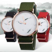 外贸热卖 时尚大理石防水手表学生男生女生帆布带超薄石英手表