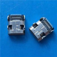 HDMI母座 MICRO 19Pin 四脚插板 贴片SMT双贴 MINI HDMI插座