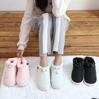 冬季羽绒布防水保暖加厚棉拖鞋厚底防滑居家包跟女月子鞋情侣棉鞋