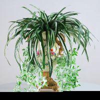 可定做仿真花金边吊兰盆栽套装绢花假花仿真植物客厅装饰花绿植塑