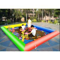 加厚充气儿童沙池钓鱼池 广场沙滩池玩具摆摊生意 秋千组合充气沙池双层