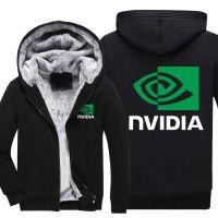 外贸新款AMD NVIDIA 英伟达男士长袖连帽开衫加绒加厚保暖卫衣