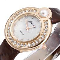 新款个性珍珠镶钻女款皮带手表休闲时尚女士手表外贸爆款石英表批
