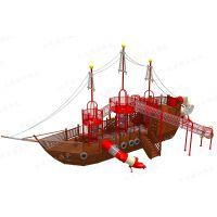 厂家直销户外儿童游乐设施设备木质海盗船攀爬滑梯组合定制