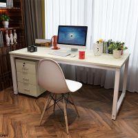 家用台式电脑台办公桌两用现代简约风格带柜子钢木面不易破碎