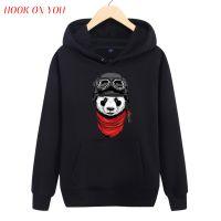 卡通动物图案飞行熊猫男士周边圆领套头连帽卫衣