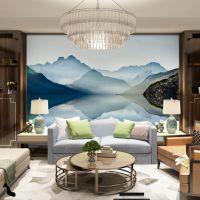 厂家直销大型无缝壁画新中式水墨山水酒店客厅卧室电视背景墙布