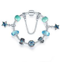 夏季新款欧美热销DIY女士手链蓝色五角星星首饰品吊坠转运珠手串