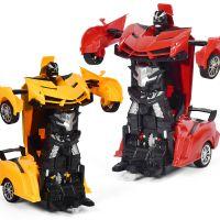 新品热销 儿童电动灯光汽车模型玩具1:22遥控变形机器人汽车玩具