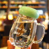 带把耐高温玻璃杯子喝水杯奶茶牛奶咖啡杯水杯家用有盖大口杯