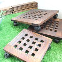 正方形花盆托盘移动花盆底座万向轮花盘垫带滚滑轮碳化防腐木花架