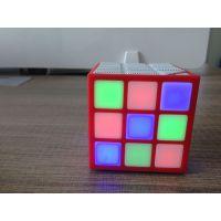魔方无线蓝牙音箱 七彩LED便携方块Cube插卡户外迷你低音炮小音响