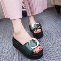 凉拖鞋女夏2018新款百搭韩版室外鞋松糕厚底一字拖高跟外穿女拖鞋
