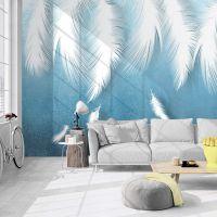 5D电视背景墙简约现代羽毛无缝大型壁画客厅卧室沙发无缝影视墙纸