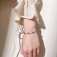 S925银饰品双层草莓晶粉水晶手链女韩版招桃花简约学生森系闺蜜