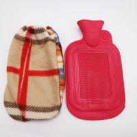 雅邦小花热水袋 带可取棉套 注水暖水袋大号毛绒橡胶暖手宝布套